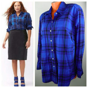 LANE BRYANT 18 1X 2X Shirt Top Tunic PLAID Blue
